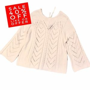 New Directions Knit Long Sleeve Sweater 3X White